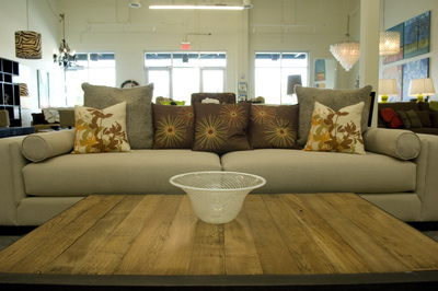 Reclaimed Oak Table and Pillows